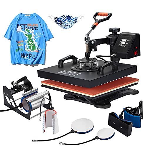 Homedex 15X15 Inch Heat Press 6 in 1 Heat Press Machine with Slide Out Drawer,Digital Multifunctional Swing Away Heat Press,Heat Transfer Sublimation Machine for T-Shirt Mugs Hat Plate Cap