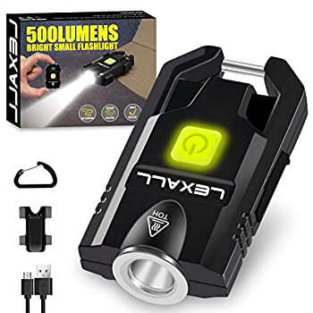 LED Small Flashlight 500Lumens Bright Mini Keychain Light Portable USB Rechargeable Pocket Lights with 3 Modes Compact Baseball Cap Lights Indoor and Outdoor for Walking,Searching and Hiking