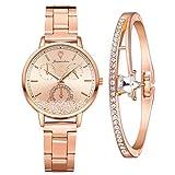 Damenuhr Uhr Minimalistisch Damen Armbanduhr Mädchen Ultradünne Set mit Armreif Paar Uhren Elegant Wasserdicht Armbanduhr Lässige Uhren für Frauen (Gold)