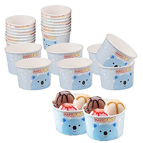Pappbecher Eisbecher Eisschalen Pappe Dessertschalen Becher Dessertschale für Eiscreme Eisbecher Pappe Weihnachten für EIS, Familie, Camping für Kindergeburtstags Partys 100 Stück 120ml Blau Weiß