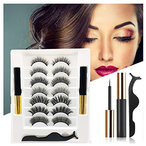 Magnetische Wimpern Magnetic Eyeliner 3D Künstliche Magnet Wimpern Wiederverwendbare Falsche Magnetic Eyelashes 3d Magnet Wimpern Set, Natural Look