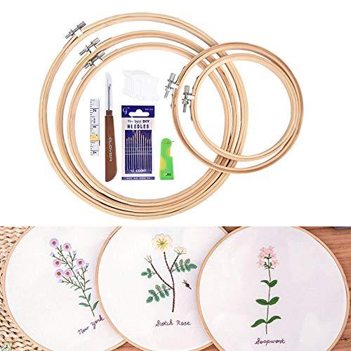 Stickrahmen Set, BASEIN 5 Pack Bambus Kreuzstich Hoop Set Runde einstellbare Stickerei Kreis Set für DIY Kunst, Handwerk, Nähen, 5 Größe (2020 Verbesserte Version)