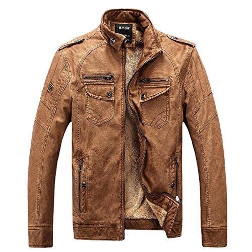 Herren Klassische Herbst Winter Warm Bomber Dicke Retro Vintage Gewaschen Leder Biker Motorrad Jacken Mäntel Lederjacke jacket (Braun, DE 2XL(Tag 3XL))