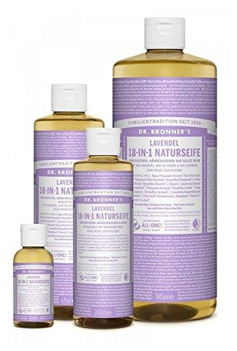 Dr. Bronner´s Naturseife Lavendel 18-in-1 Magic Soap natürliche Flüssigseife aus biologischem Anbau, vegan, keine Zusatzstoffe, Fair Trade zertifizierte Bioseife (1x60ml)