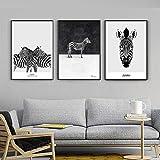 Imágenes de Lienzo Imagen de Cebra en Blanco y Negro Decoración Dulce Pintura de Lienzo nórdica...
