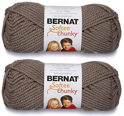 Bernat Softee - Ovillo de lana gruesa, color gris topo, 2 unidades