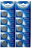 Eunicell 10 x CR2032 3V Lithium Knopfzelle 210 mAh (2 Blister a 5 Batterien) CR-2032, DL2032, ECR2032, L14, 5004LC, EA-2032C EINWEG
