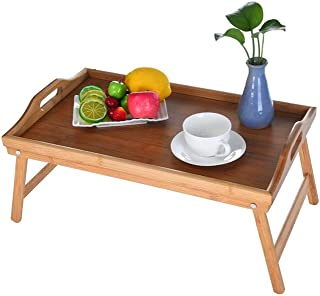 Bed Tables for Eating and Laptops, USA Warehouse, Klions Bamboo Tray with Foot Foldable Small Desk Notebook Stand Reading Holder