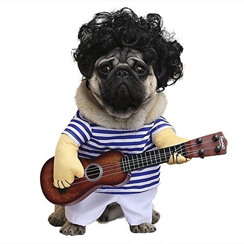 Cleana Arts - Disfraz de perro, para mascotas, estilo de guitarra, gato, disfraz para perros pequeños/gatos, traje para día especial para perro o gato (no incluye peluca).