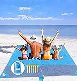 Extra grande Coperta da spiaggia Antisabbia 275*240 cm, Oversize Coperta da picnic Stuoia Impermeabile Coperta tascabile All'aperto con 6 Puntate di ancoraggio Campeggio Escursionismo (blu)