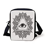 LULABE Eye,Vintage All Seeing Eye Tattoo Symbol with Boho Mandala Providence Spirit Occultism,Black White Print Kids Crossbody Messenger Bag Purse