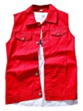 LifeHe Men's Retro Ripped Denim Sleeveless Jean Vest and Jacket White (Red, M)