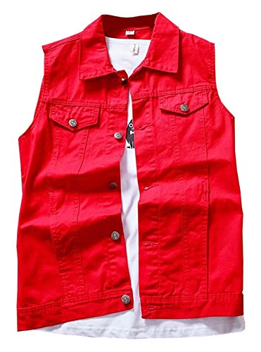 LifeHe Men's Retro Ripped Denim Sleeveless Jean Vest and Jacket White (Red, M)