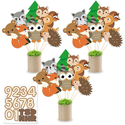 24 PCS Woodland Animals Centerpiece Sticks - Animals Table Toppers Decorations - Woodland Forest Creature Cutouts Photo Booth Props for Wild Woodland Baby Shower Birthday Party Favor Supplies