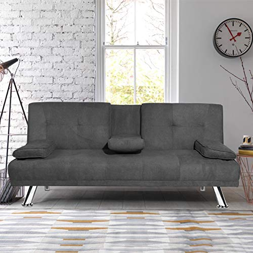 MIERES Modern Convertible Futon Sofa Bed for Living Room Fold Up & Down Recliner Couch w/Metal Legs and 2 Cup Holders Sleeper Daybed, for Small Spaces, Dark Gray