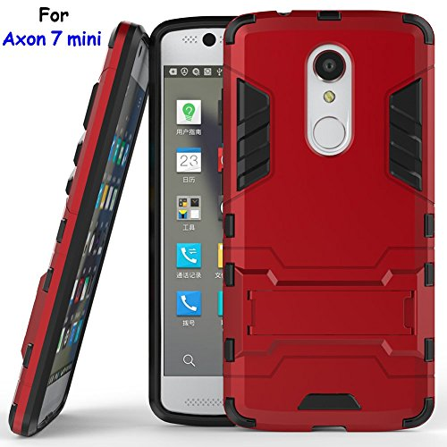 Axon 7 mini Case, ZTE Axon 7 mini Case, MicroP(TM) Dual Layer Armor Hard Slim Hybrid Kickstand Phone Cover Case for ZTE Axon 7 mini (Axon 7 mini Red Kickstand Case)