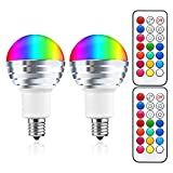 LED電球 カラー電球 E17口金 3W RGB マルチカラー 昼白色(6000K) 調色調光機能 タイミング機能 記憶機能 リモコン付き 明るさを控える 普段照明用 装飾照明電球 昼白色 (2個入り)