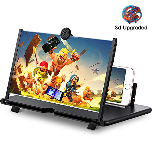 12' Phone Screen Magnifier,3D Cell Phone HD Curved Screen Amplifier,Foldable Phone Enlarger for Movies,Videos,Gaming,Compatible with Most Phones