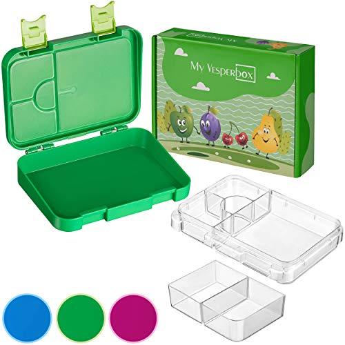 My Vesperbox – Kinder Bento Box - Lunchbox mit 4+2 Fächern - extrem robust und auslaufsicher –...