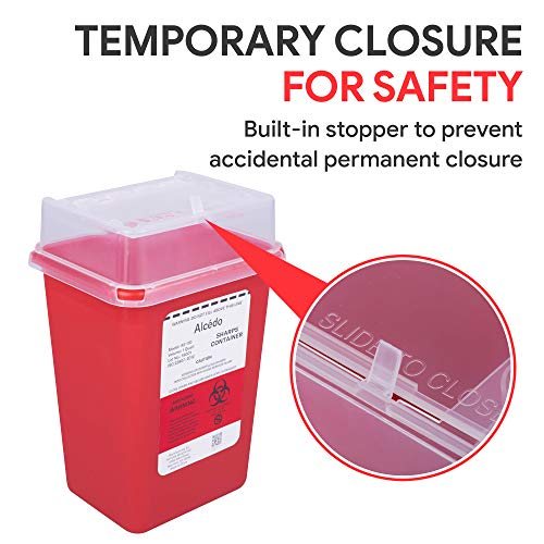 Sharps Container for Home Use and Professional 1 Quart (3-Pack) by Alcedo | Biohazard Needle and Syringe Disposal | Small Portable Container for Travel