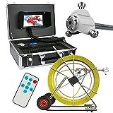 """Videocamera per ispezione di Tubi, 120 M IP68 Impermeabile Sistema di telecamere di ispezione per cucine Telecamera da 7""""LCD DVR 1000TVL con Scheda SD da 8 GB"""