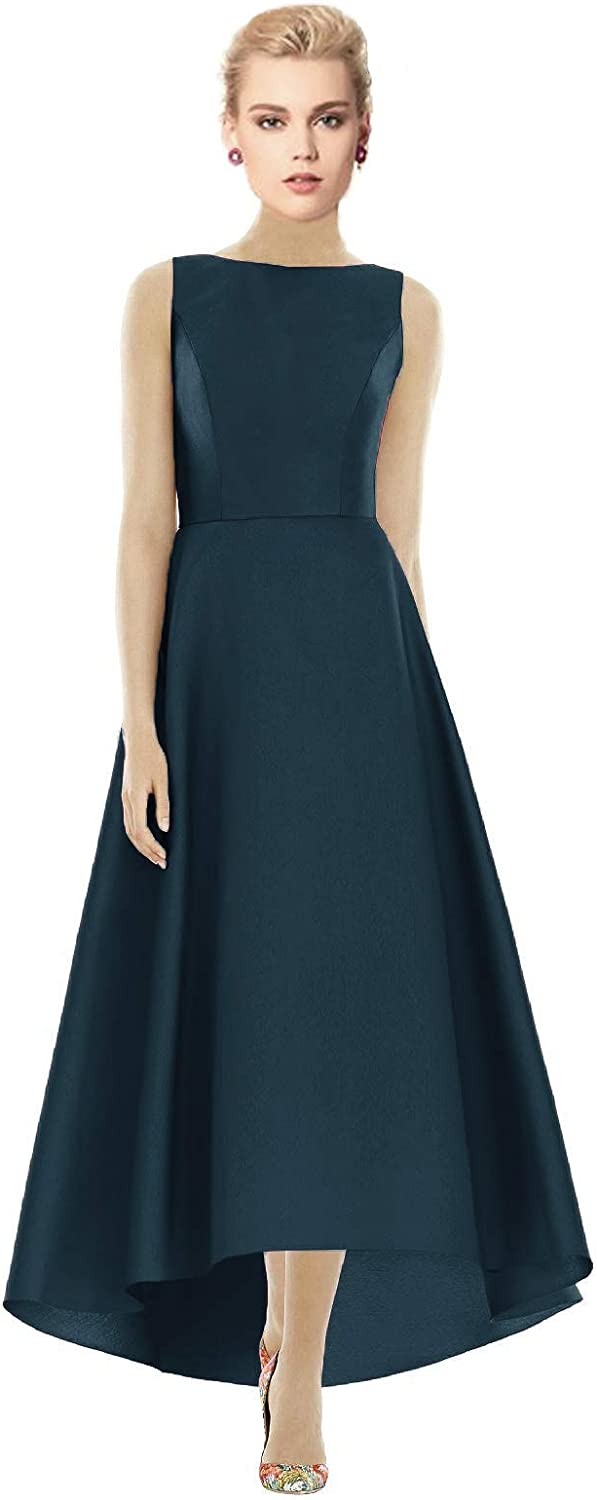 Awishwill Women's Vintage Satin Evening Formal Dresses High Low with Pockets Mother of The Bride Dress