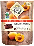 ORGANIC Turkish Dried Apricots - Sunny Fruit - (5) 1.76oz Portion Packs per Bag   Purely Apricots - NO Added Sugars, Sulfurs or Preservatives   NON-GMO, VEGAN, HALAL & KOSHER