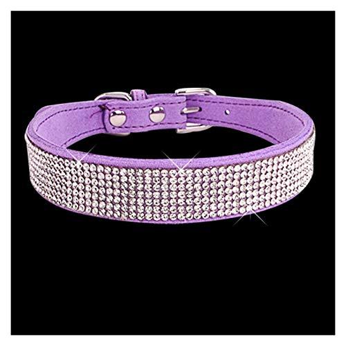 HYMD Collar Perro Collares de Perros de Cristal PU Cuero pequeño Bling Collar Perro Perro Collar con XXS XS s m (Color : Purple, Size : X-Smal)