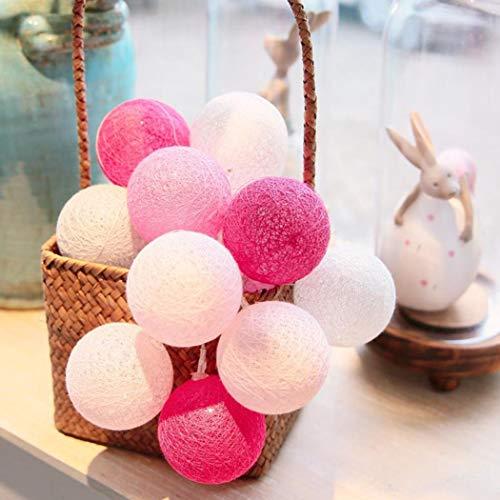 Fantasee - Cadena de luces de algodón, 3 m, 20 ledes, funciona con pilas para Navidad, bodas, Halloween, fiestas, luces de hadas (blanco, rosa y rojo)