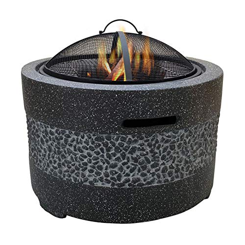 HLEZ Fire Pit with BBQ Grill Shelf, Firepit Garden Patio Heater/BBQ/Ice Pit Fashionable and Artistic Magnesium Oxide Base Used for Outdoor Garden Barbecue Camping,Black