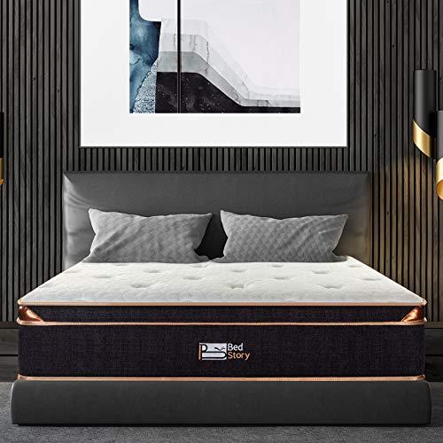 BedStory Queen Mattress, 12 Inch Gel Memory Foam Pocket Spring Hybrid Mattress Queen Size Euro Top Pocket Coil Mattresses, Medium Firm Double Bed Mattress in a Box, CertiPUR-US Certified - Black