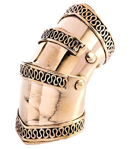 Windalf Ritter Ring TYRCAN h: 4.4 cm Gelenkring Mittelalter Hochwertige Bronze (Silber, 54 (17.2))