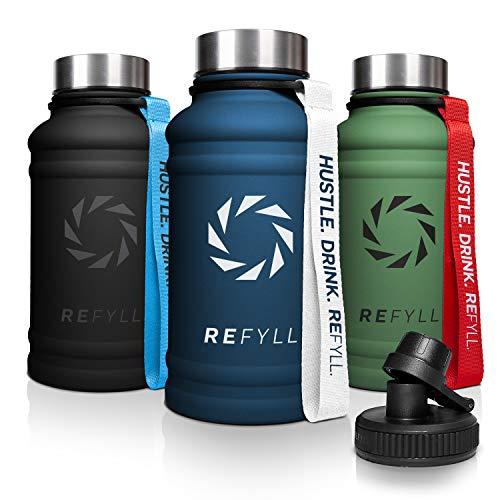"""REFYLL Edelstahl Trinkflasche """"heroFYLL"""" in 1,3L I Fitness Trinkflasche für Sport, Gym   Wasserflasche auslaufsicher, robust, BPA frei   Für Kohlensäure geeignet   + Gratis Sportdeckel (Navy Blue)"""