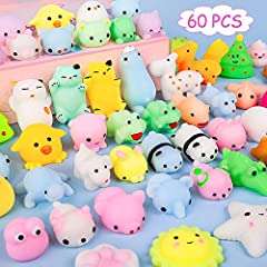 Kawaii Toys For Kids --- Great assortment has 60 different designs, attractive animals with soft touch,Every kid would love these cute squishies and get days of enjoyment and fun from it! Perfect Party Favors --- Give kids as a gift perfect for almos...