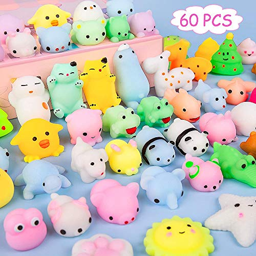Kizcity 60 Pcs Mochi Squishies, Kawaii Squishy Toys for Party Favors, Animal Squishies Stress Relief Toys for Boys & Girls Birthday Gifts, Classroom Prize, Goodie Bag