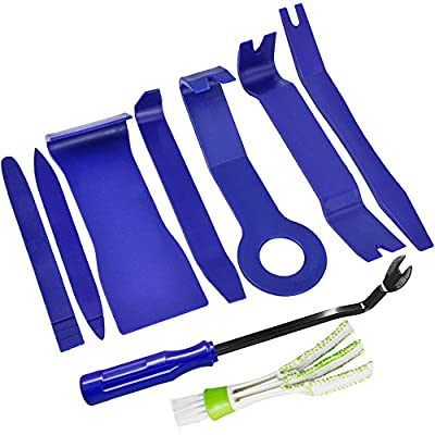 SENHAI 8 Pcs Auto Trim Removal Tool Kit, Car Dash Audio Radio Door Panel Trim Removal Set Installer Pry Tools, with 1pcs Duster for Car Air Vent