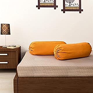 SOUMYA Plain Cotton Bolster Cover (Standard, Orange) - 2 PC