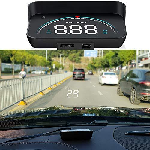 Wisamic Head up Display Auto HUD: Display OBD2 & HUD Display GPS, 3,5 Zoll Geschwindigkeitsmesser Auto Tachometer Wassertemperaturmesser Motordrehzahl Sicherheitsalarme