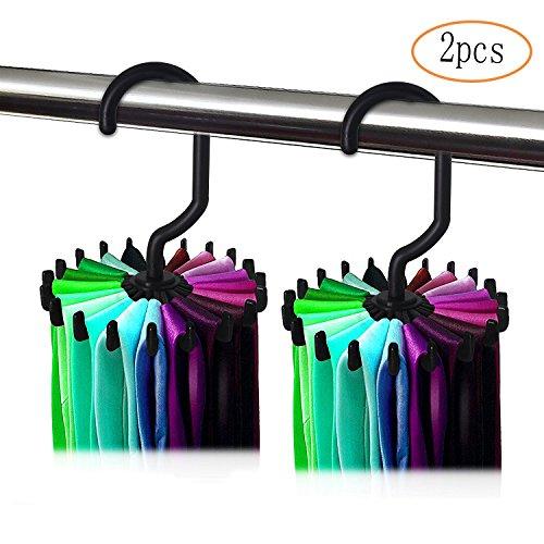 MINGZE 2 Stück Drehen Krawattenhalter Gürtelhalter Halter, Verstellbarer Rotierender 20 Haken für Schrank Organisator Lagerung (Schwarz)
