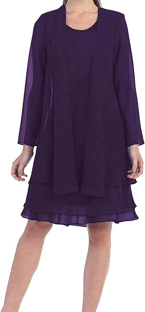 Mother of The Bride Dress Short Evening Formal Gowns Long Sleeve Chiffon Jacket