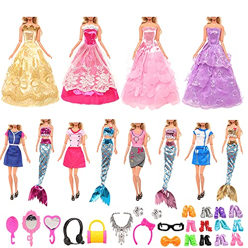 Miunana 62 Pezzi per 11.5 Pollici 30 CM Bambola (Non Include Bambola): 4 Abiti + 4 Vestiti da Sposa + 4 Costumi da Bagno Stile Sirena + 10 PCS Scarpe + 40 Accessori