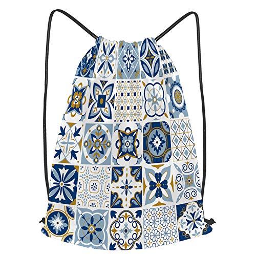 fudin Unisex Wasserdicht Kordelzug Rucksack Marokkanisches Muster Dekor Fliesen Texturdruck Turnbeutel Sporttasche für Yoga Freien Schule Strand Schwimmen