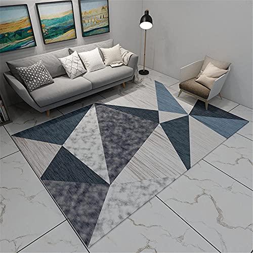 La alfombras Alfombra niños No se desvanece el diseño geométrico Gris Azul...