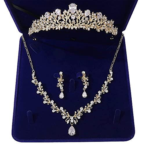 Conjuntos de joyería nupcial de hoja de cristal Conjunto de aretes de collar de tiaras de corona de diamantes de imitación para novia Conjuntos de joyas de cuentas africanas (Color de metal: Ju