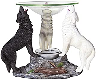 Pacific Giftware Novelty Tri Colored Wolves Wolfpack Scented Oil Warmer Diffuser Collectible Figurine