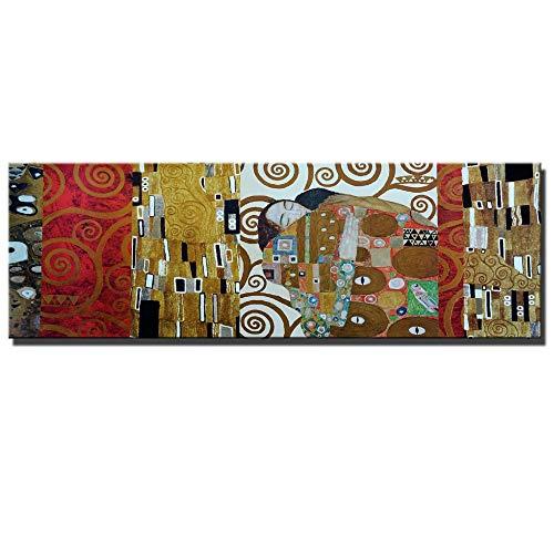 kdjshhs Pintura Beso Famosas Pinturas De Lienzo para La Decoración De La Habitación De La Cama Gran Tamaño Famoso Pintura De Réplica De Cuadros del Beso