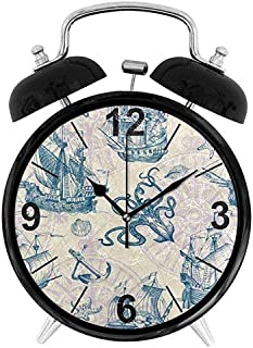 jiushiyigezi-n Alarm Clock - Great Gift - Nautical Sailboat and Octopus Silent Non-Ticking High Volume Lighting Desk Clock for Bedroom and Office Decoration