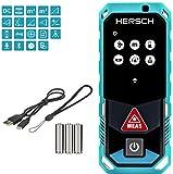 HERSCH LEM 50 Medidor Láser de distancias (Bluetooth y aplicación Gratuita, Medición 3D, Pantalla giratoria a Color con Pantalla táctil, Sensor de inclinación, Ni-MH baterías, IP65, Alcance 0,05-50m)