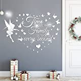 2Pack 3D Acrylic Mirror Wall Sticker, DILIBRA Time Spent with Family Quotes Bible Letters Wall Decals, Removable Fairy Stars Butterfly DIY Art Mural Home Decor for Living Room Nursery Bedroom (Silver)