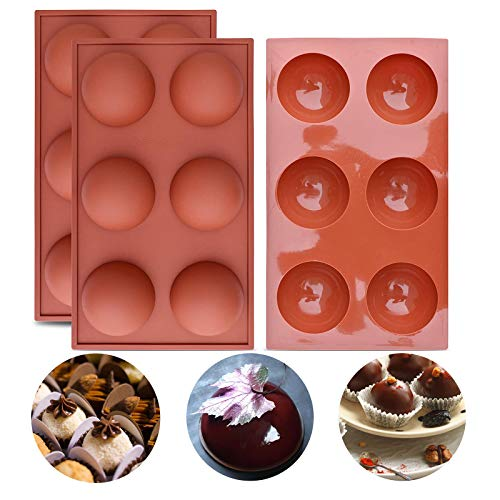 2 Large Semi Sphere Silicone Mold, 6-Cavity Half Ball Shape Silicone Baking Molds for Chocolate Covered Perfect for Hot Chocolate Bomb, Candy Mini Soap, Cake, Jelly, Pudding, Ice Cube Bread and Jello…